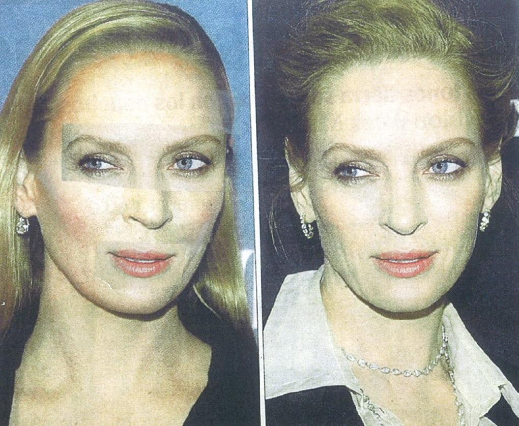 Las mismas fotos, pero superponiendo los ojos, cejas y boca maquillados como en ella es habitual